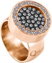 Quiges RVS Schroefsysteem Ring met Zirkonia Rosékleurig Glans 20mm met Verwisselbare Zirkonia 12mm Mini Munt