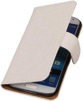 Samsung Galaxy Core Hoesje Krokodil Bookstyle Wit