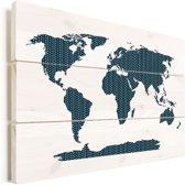 Wereldkaarten.nl - Wereldkaart Blauw kruisjes en plusjes vurenhout 80x60 cm