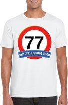 77 jaar and still looking good t-shirt wit - heren - verjaardag shirts S