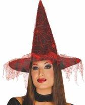 Halloween - Zwarte heksenhoed met rood spinnenweb