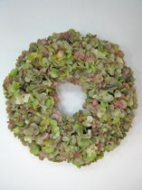 Viv! Home Luxuries Hortensia krans - zijde - licht roze groen - herfst - 46cm - topkwaliteit