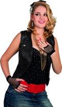 Korte zwarte netstof handschoenen voor volwassenen - Verkleedattribuut