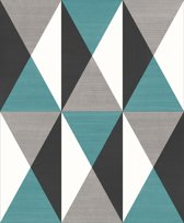 Dutch Wallcoverings vliesbehang ruit - blauw/beige