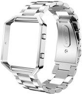 Metalen armband voor Fitbit Blaze met behuizing - Zilver