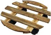 Plantenroller hout rond - Plantentrolley – Plantentrolley– Plantenonderzetter - Ø30 cm