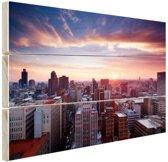 Zonsondergang over Johannesburg Hout 80x60 cm - Foto print op Hout (Wanddecoratie)