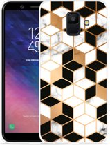 Galaxy A6 2018 hoesje Black-white-gold Marble