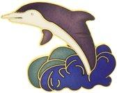 Behave® Broche dolfijn paars wit emaille