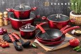 Edënbërg 15-delige luxe pannenset van gesmeed aluminium - rood/zwart/metallic