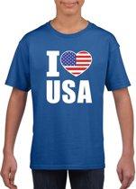 Blauw I love USA - Amerika supporter shirt kinderen - Amerikaans shirt jongens en meisjes XL (158-164)