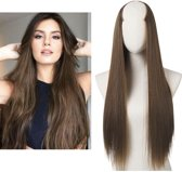 Clip in hair extensions straight 24 inch - light brown