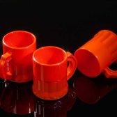 Oranje kunststof shotglaasjes - 2,5 cl - 25 stuks