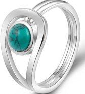 Verzilverde ring- Turquoise steen- MT 17.5 cm