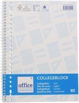 Office Essentials collegeblok A4  -80 vel 23-rings spiraalblok 60 grams gelinieerd papier