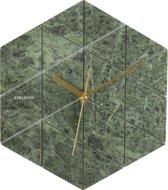 Karlsson Marble Hexagon - Wandklok - 25 x4,5 cm - Marmer - Groen