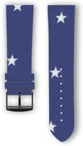 100% katoenen horlogeband met leder (achterzijde) Blue Star 20 mm