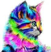"Diamond Painting ""JobaStores®"" Gekleurde Kat - volledig - 30x30cm"