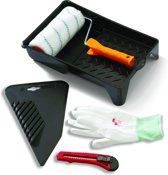 Glasvezelbehang Set - 5-delig - 1 lijmroller - 1 behang/textielstrijker - 1 afbreekmes - 1 verfbak - 1 paar handschoenen