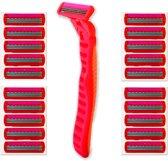 Scheermesjes inclusief Comfortgreep / Flexibele Scheerkop en Glijstrip voor Vrouwen - 22-Delig | Flexibele Scheerkop | Scheermes | Scheermesjessets | Scheermesje