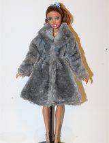 B-Merk Barbie jas, grijs, bont