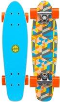 """Nijdam Houten Pennyboard 22.5"""" - Flipgrip-board - Blauw/Oranje/Grijs"""