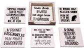 Originele Grappige Onderzetters Witte Set 13, 6 stuks met een houder van FSC-gecertificeerd hout