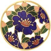 Behave® Dames Broche rond met bloemen blauw - emaille sierspeld -  sjaalspeld  5 cm