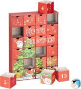 relaxdays adventskalender om zelf te vullen - 24 lege boxen - advent - kerst kalender rood