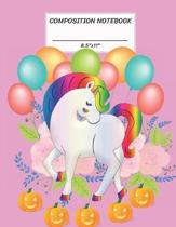 Composition Notebook: Unicorn, Halloween Pumpkin Jack O' Lantern, Flower, Balloon, Wide Ruled paper Notebook, Notes Taking, Basic Lines Jour