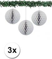 3x decoratie bal grijs 10 cm - papieren kerstbal