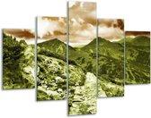 Glasschilderij Natuur | Groen, Bruin | 100x70cm 5Luik | Foto print op Glas |  F005162