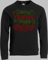 Sweater Merry christmas and happy new year - Zwart - M
