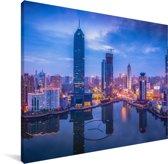 Kleurrijke panorama van Wuhan Canvas 80x60 cm - Foto print op Canvas schilderij (Wanddecoratie woonkamer / slaapkamer) / Aziatische steden Canvas Schilderijen