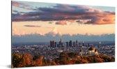 Uitkijkend naar het Griffith-observatorium en de wereldstad Los Angeles Aluminium 160x80 cm - Foto print op Aluminium (metaal wanddecoratie)