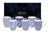 Tokyo Design Studio Nippon Blue Mokken - 380 ml - 6 stuks