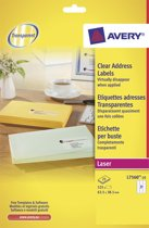 2x Avery transparante etiketten QuickPEEL 63,5x38,1mm (bxh), 525 stuks, 21 per blad