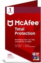 McAfee Total Protection - Multi-Device - 1 Apparaat - 1 Jaar - Nederlands / Frans - Windows / Mac