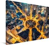 Gele verlichting van het plein in Dalian Canvas 90x60 cm - Foto print op Canvas schilderij (Wanddecoratie woonkamer / slaapkamer) / Aziatische steden Canvas Schilderijen