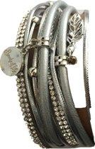Petra's Sieradenwereld - Wikkelarmband zilver grijs leer met magneet (33)