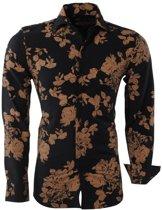 Montazinni - Heren Overhemd - Bloemen - Slim Fit - Zwart