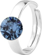 ARLIZI 1293 Ring Swarovski Kristal - Dames - 925 Sterling Zilver - 8 mm - Blauw