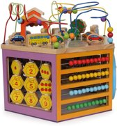 Houten Activiteiten Kubus met kralenspiraal - Vormenstoof Blokken & Kralenbaan - Speelset - Pinoccio - speelgoed vanaf 1 jaar