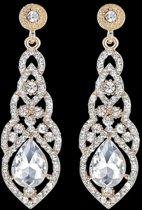 Victoria - Goudkleurige Oorbellen - Oostenrijks Bergkristal - Zirkonia Kristallen - Nieuw Design