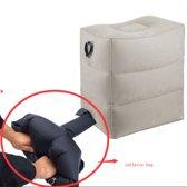 MVDO Vliegtuigbedje – 3 hoogtestanden – Ideale opblaas techniek zonder pomp en niet met de mond – Air traveller - Voetensteun - Kind - Het beste reis comfort