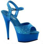 Neon blauwe glitter sandalen Caydence 38