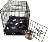 Topmast Hondenbench Bench Autobench Zwart - S - 61 cm - Opvouwbaar +  Teddybont Kussen Zwart print