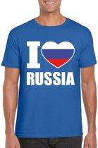 Blauw I love Rusland supporter shirt heren - Russisch t-shirt heren 2XL