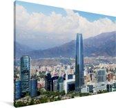 Witte wolken boven de skyline van Santiago in Chili Canvas 60x40 cm - Foto print op Canvas schilderij (Wanddecoratie woonkamer / slaapkamer)