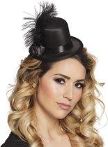 Zwart mini hoedje met veren voor volwassenen - Verkleedhoofddeksel
